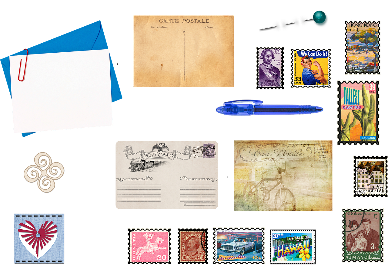 Stationery Postage Stamp Post Cards  - AnnaliseArt / Pixabay